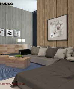 Picture of modern living room interior with concrete walls